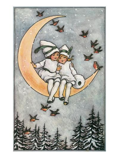 Winter, Children on Moon--Art Print