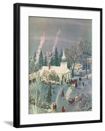 Winter Church Scene, 1960--Framed Giclee Print