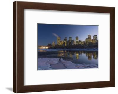 Winter city skyline reflects in the Bow River in Calgary, Alberta, Canada-Chuck Haney-Framed Photographic Print