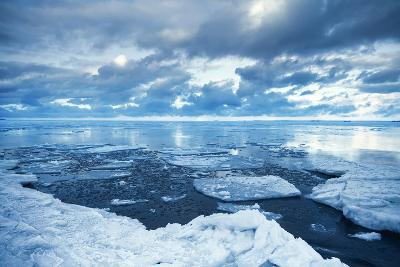 Winter Coastal Landscape with Floating Melting Ice Fragments-Eugene Sergeev-Photographic Print