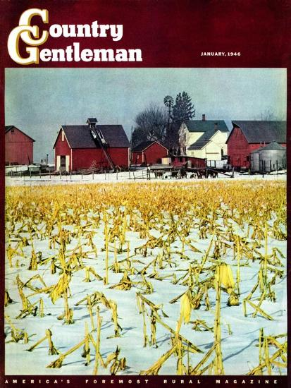"""Winter Cornfield,"" Country Gentleman Cover, January 1, 1946-Thomas Benner-Giclee Print"