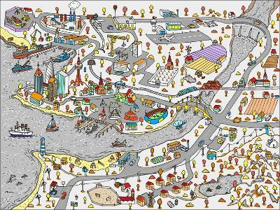 Winter Doodle Town. Map Drawn by Hand. Vector. Isolated- WINS86-Art Print