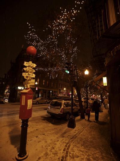 Winter Evening in Boston's North End, Italian Neighborhood-Tim Laman-Photographic Print
