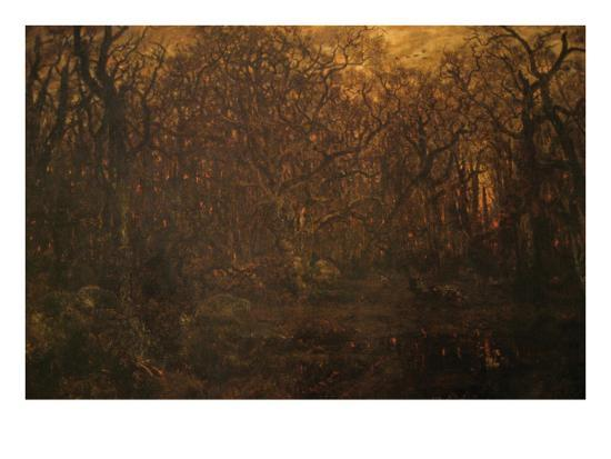Winter Forest at Sunset-Pierre Etienne Theodore Rousseau-Art Print