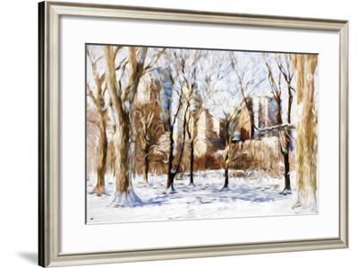 Winter in Central Park V - In the Style of Oil Painting-Philippe Hugonnard-Framed Giclee Print