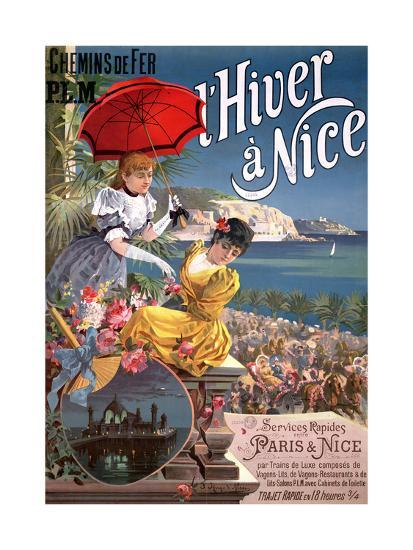 Winter in Nice, Poster Advertising P.L.M Trains-Hugo D' Alesi-Giclee Print