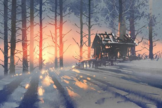 Winter Landscape of an Abandoned House in the Forest,Illustration Painting-Tithi Luadthong-Art Print