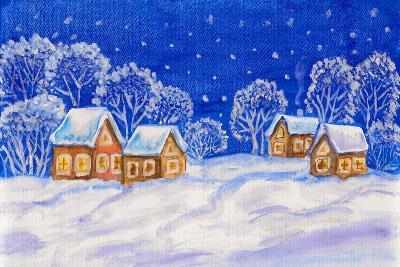 Winter Landscape On Dark Blue Sky-Iva Afonskaya-Art Print