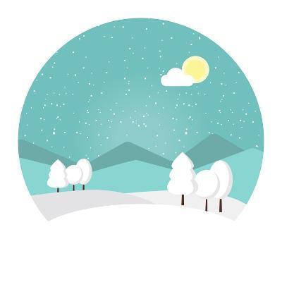 Winter Landscape. Snowy Mountain. Winter Time. Wonderful Winter Morning of Christmas. Blue Landscap- Roosje-Art Print