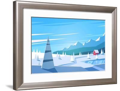 Winter Landscape. Vector Illustration.- Doremi-Framed Art Print