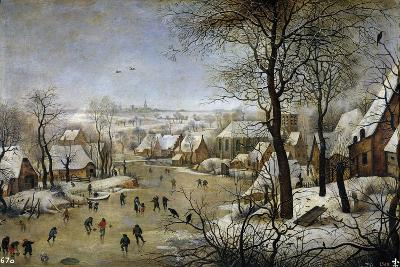 Winter Landscape with a Bird Trap, Ca 1601-Pieter Brueghel the Younger-Giclee Print