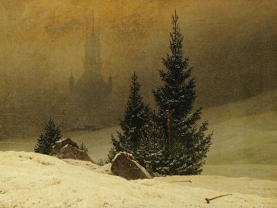 Winter Landscape with a Church-Caspar David Friedrich-Giclee Print