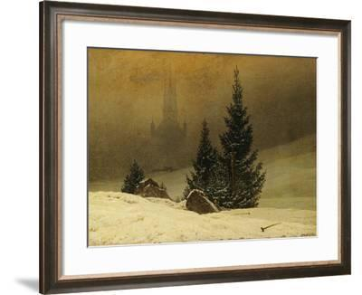 Winter Landscape with a Church-Caspar David Friedrich-Framed Giclee Print