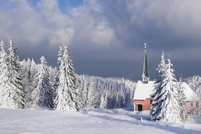 Winter Landscape with Church, Kandel Mountain, Black Forest, Baden-Wurttemberg, Germany, Europe-Markus Lange-Photographic Print