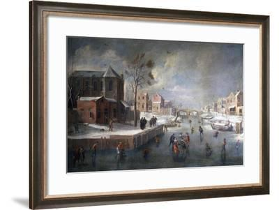 Winter Landscape with Church-Jan Wildens-Framed Giclee Print