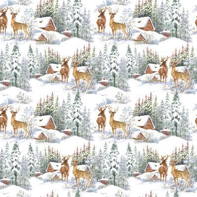 Winter Landscape with Deers-KostanPROFF-Art Print