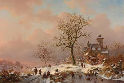 Winter Landscape with Figures Playing on the Ice, 1868-Frederick Marianus Kruseman-Giclee Print