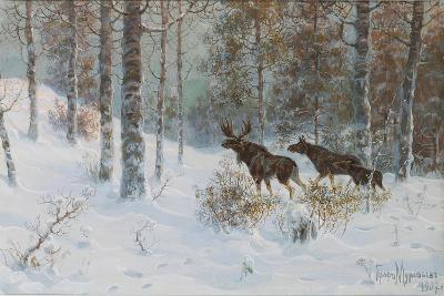 Winter Landscape with Mooses, 1907-Count Vladimir Leonidovich Muravyov-Giclee Print
