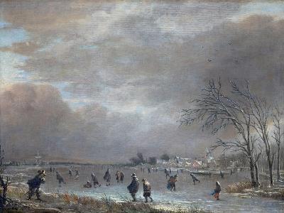 Winter Landscape with Skaters on a Frozen River-Aert van der Neer-Giclee Print