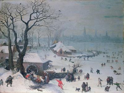Winter Landscape with Snowfall Near Antwerp-Lucas van Valckenborch-Giclee Print