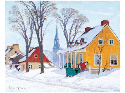 Winter Morning in Baie-St-Paul-Clarence Alphonse Gagnon-Premium Giclee Print