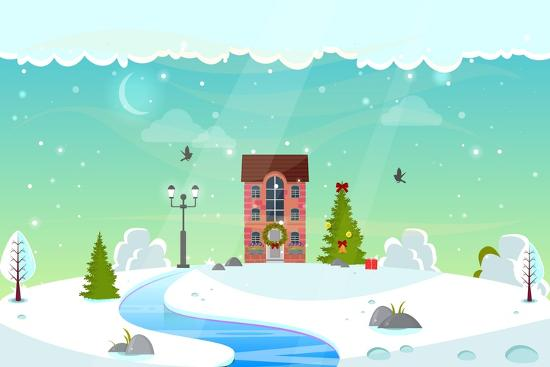Winter Nature Landscape with River. Cute House with Christmas Fir-Tree, Lantern (Street Light) and- icanFly-Art Print