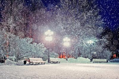 Winter Night Landscape - Evening in the Night Snowy Park with Benches under Snowfall-Marina Zezelina-Photographic Print