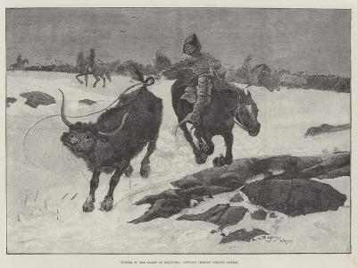 Winter on the Plains of Manitoba, Cowboys Chasing Strayed Cattle-Henry Charles Seppings Wright-Giclee Print