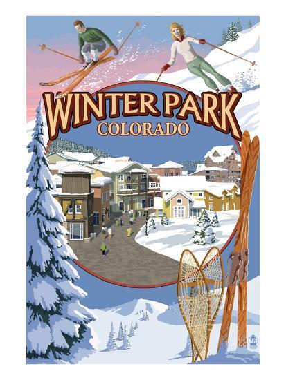 Winter Park, Colorado Montage-Lantern Press-Art Print
