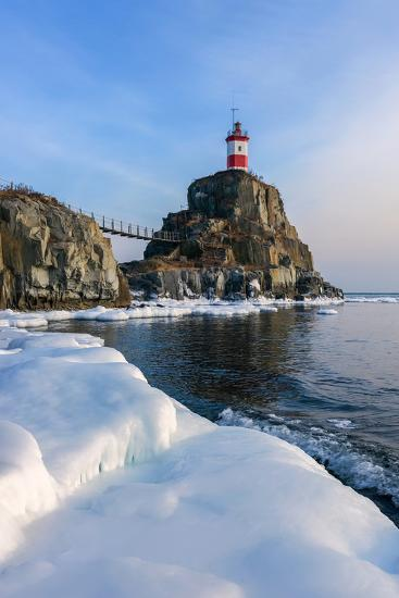 Winter Picture Lighthouse on a Lonely Rock.- vladsv-Photographic Print