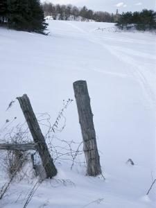 Winter Rural Scenery with Old Wire Fence Posts in the Foreground of a Snow Covered Field