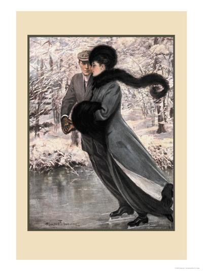 Winter's Date-Clarence F^ Underwood-Art Print