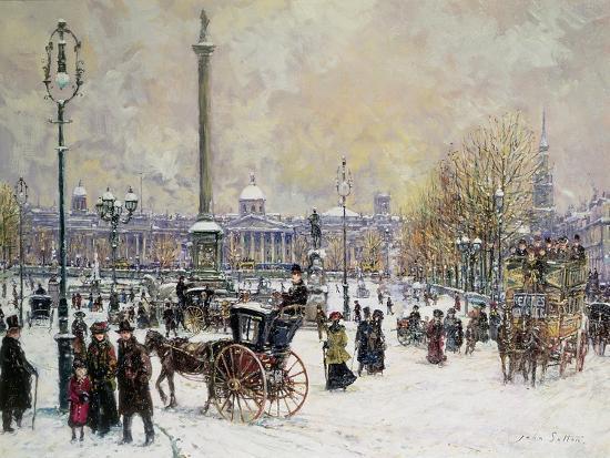 Winter's Mantle, Trafalgar Square, London-John Sutton-Giclee Print