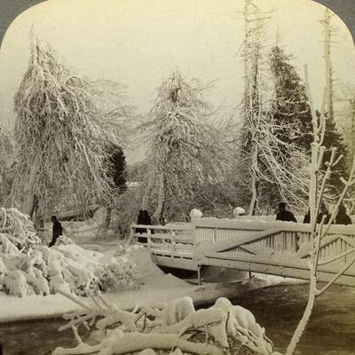 Winter Scene, Luna Island, Niagara Falls, New York, USA Photographic Print  by Underwood & Underwood | Art com