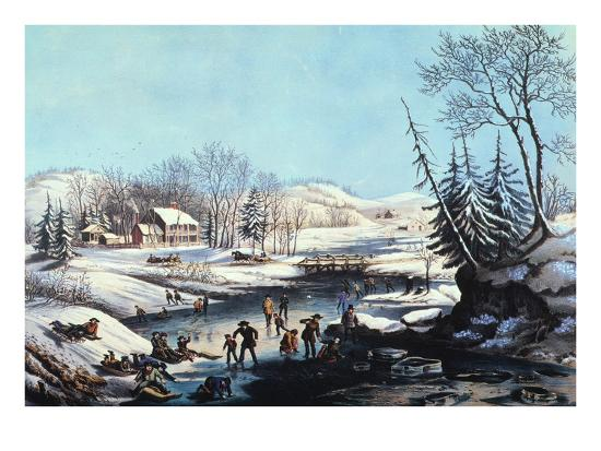 Winter Scene: Morning 1854-Currier & Ives-Giclee Print