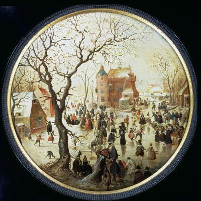 Winter Scene with Skaters Near a Castle, C.1608-09 (Oil on Panel)-Hendrik Avercamp-Giclee Print