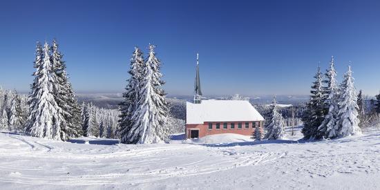 Winter scenery on Kandel close church, Black Forest, Baden-Wurttemberg, Germany-Markus Lange-Photographic Print