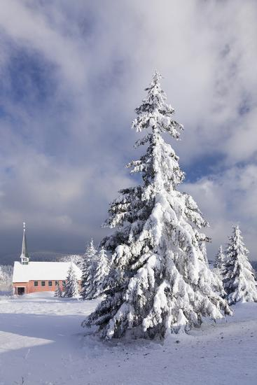 Winter scenery on the Kandel with church, Black Forest, Baden-Wurttemberg, Germany-Markus Lange-Photographic Print