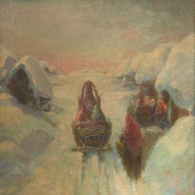 Winter, Sledge Driving-Konstantin Konstantinovich Pervukhin-Giclee Print