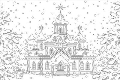 Winter Snow Palace Coloring Art