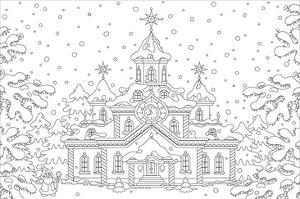 Winter Snow Palace Coloring Art