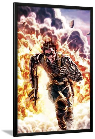 Winter Soldier No.4 Cover: Winter Soldier Escaping an Explosion-Lee Bermejo-Lamina Framed Poster