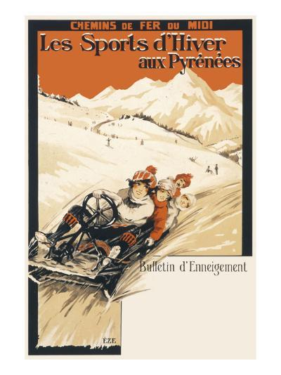 Winter Sports in the Pyrenees Poster--Giclee Print