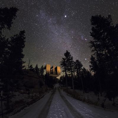 Winter Stars, Including Jupiter, and the Milky Way over the Large Binocular Telescope-Babak Tafreshi-Photographic Print