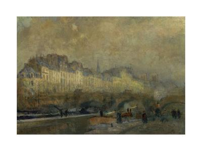 Winter Sun at Paris-Albert Lebourg-Giclee Print