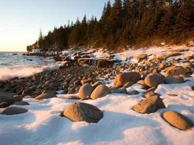 Winter Sunrise in Monument Cove, Acadia National Park, Maine, USA-Jerry & Marcy Monkman-Photographic Print