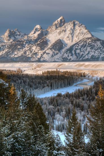 Winter Sunrise on the Teton Range and Snake River-Greg Winston-Photographic Print
