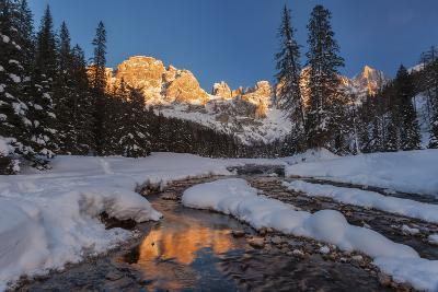 Winter Sunset over the St Martin's Blades, Dolomites, Italy.-ClickAlps-Photographic Print