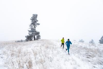 Winter Trail Run To Celebrate The First Snow Of Season On Paradise Ridge Outside Of Moscow, Idaho-Ben Herndon-Photographic Print