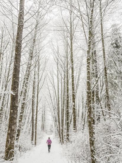 Winter Trail Running-Steven Gnam-Photographic Print